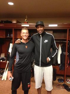 """4/10/13. HUNTER PENCE and 6'9"""" KEVIN DURANT of the Oklahoma City Thunder visit in the Giants locker room.  The Thunder are in town to play the Warriors on 4/11/13."""