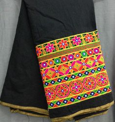 Black chanderi saree kutch embroidery Beautiful Saree, Beautiful Outfits, Hand Embroidery Dress, Kutch Work, Indian Patterns, Sexy Blouse, Chiffon Saree, Indian Designer Wear, Indian Wear