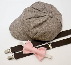 8018f2a6c12 Bow Tie Suspenders Newsboy Taupe Brown Cap Hat   Rose Pink Bow Tie   Coffee  Brown Suspenders   Kids Baby Page Boy Set Newborn - 10Years