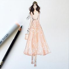 #Fashion #illustration by @hnicholsillustration of @rachelfinninger on the @eliesaabworld #runway  // Pinned by Dauphine Magazine x Castlefield - Curated by Castlefield Bridal Company & Branding Atelier and delivering the ultimate experience for the haute couture connoisseur! Visit www.dauphinemagazine.com, @dauphinemagazine on Instagram, and @dauphinemag on Pinterest • Visit Castlefield: www.castlefield.co and @ castlefieldco on Instagram / Luxury, fashion, weddings, bridal style, décor…