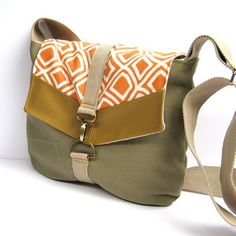 satchel // sage khaki canvas - orange geometric print canvas - mustard brown vegan leather // crossbody purse - messenger