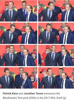 Jonathan Toews and Patrick Kane announcing the #Chicago #Blackhawks first pick of the #2017 #NHL #Draft