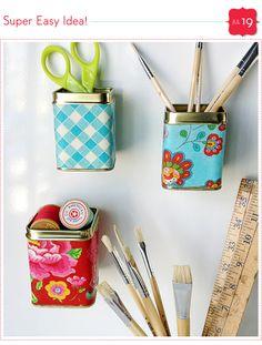 Idea - Take an empty tea tin, mod podge some craft paper around it. Hot glue a good magnet & wah-lah! /LL