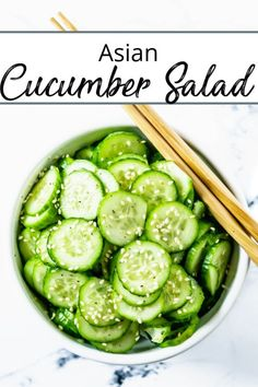 Crispy sliced cucumbers in an Asian inspired vinaigrette that is so simple to prepare you will likely want to make this all the time as a quick alternative to a side salad. dinner salmon Asian Cucumber Salad - The Delicious Spoon Quick Salad Recipes, Cucumber Recipes, Side Dish Recipes, Summer Recipes, Healthy Recipes, Cheap Recipes, Fast Recipes, Vegetarian Asian Recipes, Soup And Salad