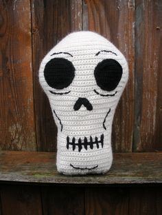Crochet Skull Throw Pillow ready to ship by luvbuzz.etsy.com