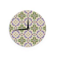 Kess InHouse Laura Nicholson 'Kissing Budgies' Geometric Beige Wall Clock