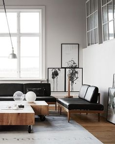 The best part about this modern and Minimal living area just might be the light coming in from Just or if frame