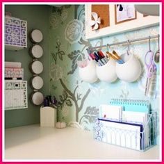 Mount curtain rod above desk and hang storage containers for pens, sharpies, etc. declutter!!
