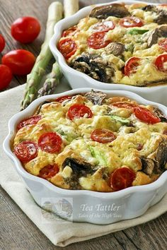 "Asparagus Mushroom Crustless Quiche  4 Asparagus Spears sliced 1""  4 Mushrooms sliced  1/2 tsp tarragon  6 Large Eggs  1/3 c half & half  2oz. low fat cream cheese  1/3 c Bisquick  12 grape tomatos  2 individual 5"" pie plates; add asparagus, mushrooms & tarragon; Mix remaining ingredients excluding tomatoes; divide mixture between 2 plates; top grape tomatoes cut side up; Bake 375, 30 min"