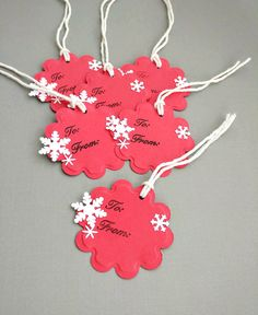 10 Red To From Gift Tags Embossed With White by CatalinaInspired