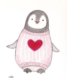 Скрапбукинг, рукоделие, Картинки с пингвинами Penguin Watercolor, Penguin Drawing, Penguin Art, Watercolor Animals, Watercolor Paintings, Abstract Animals, Watercolours, Cute Illustration, Christmas Illustration