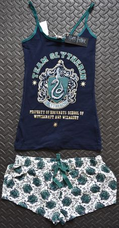 PRIMARK Team Slytherin Harry Potter Vest & Shorts PJ Hogwarts Set Sizes 6 - 20 *Vest & Short Set*