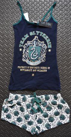 PRIMARK Team Slytherin Harry Potter Vest & Shorts PJ Hogwarts Set Sizes 6 - 20 *Vest & Short Set*