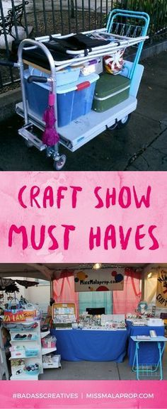 Craft Show MUST HAVES! Make More Money at Craft Fairs! Don't waste time like I did. Learn from my 10 years of craft fair experience. My craft show tool kit has evolved a lot over the years, and now there are a few handy items I can't live without bringi Craft Fair Displays, Craft Show Booths, Market Displays, Craft Show Ideas, Craft Show Booth Display Ideas Layout, Jewelry Displays, Craft Fair Ideas To Sell, Craft Show Table, Craft Fair Table