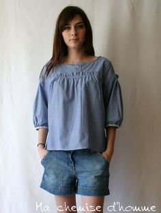 Summer sale 30% off - Recycled Man's shirt Tunic - Luna - US 6 / EU 38. €75.00, via Etsy.