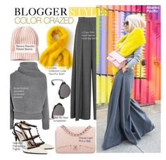 """""""Blogger Style-Color Crazed"""" by kusja ❤ liked on Polyvore featuring Christian Dior, J.Crew, Acne Studios, Chanel, Valentino, StreetStyle and BloggerStyle"""