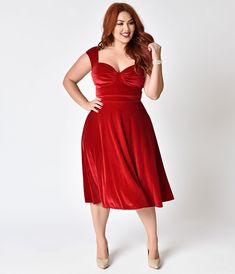 Vintage Christmas Dress | Party Dresses | Night Out Outfits Bettie Page Plus Size Red Velvet Sleeveless Holiday Swing Dress $112.00 AT vintagedancer.com