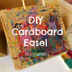 DIY Cardboard Tabletop Easel - simple instructions to make your own art easels from recycled materials | youclevermonkey
