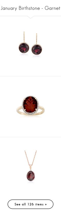 """January Birthstone - Garnet"" by rosssimons ❤ liked on Polyvore featuring jewelry, earrings, yellow gold, garnet jewelry, gold drop earrings, round earrings, garnet earrings, burgundy earrings, rings and oval garnet ring"