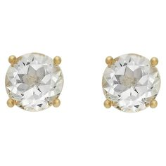 2.10 Carat TW Oval-cut White Topaz Stud Earrings Gold Plated (April), Medium Clear