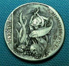 "Hobo Nickel ""Sleeping With The Fishes"" Koi Skull coin by Howard Thomas"
