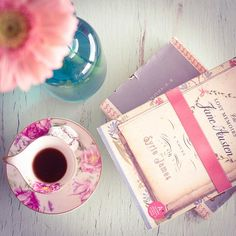 Carmen Moreno Photography, books, mug, tea, table, vintage