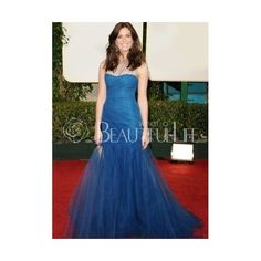 Celebrity Dress - Blue Satin Organza Sweep Train Strapless Ruched Bottom Celebrity Dress (220 AUD) found on Polyvore
