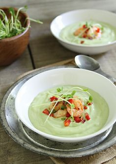 Chilled avocado sweet corn soup with lime shrimp salsa by Runningtothekitchen, via Flickr