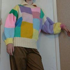 Handmade vintage sweater in all sorts of cute pastel colors. It's got a turtleneck collar and is super comfy and warm. There are no tags because it is handmade but it will best fit a medium or large. Happy to answer questions:) #turtleneck #knitsweater #vintage #depop #depopfamous #unisex #unique #colorblock #pastel #pink #clown #handmade #grandma #warm