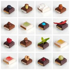 DIY Modular Gourmet Chocolates  by sweetplay via thisiscolossal: Choose among three chocolate 'supports' and add two additional 'elements'(nut, fruit, liquid) . Slide a flavored wafer into the 'drawer'.
