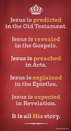 Jesus us predicted in the Old Testament. Jesus is revealed in the Gospels. Jesus is preached in Acts. Jesus is explained in the Epistles. Jesus is expected in Revelation. It is all His story. Bible Scriptures, Bible Quotes, Biblical Quotes, Motivational Scriptures, Bible 2, Jesus Bible, Quotes Quotes, Christian Life, Jesus Freak