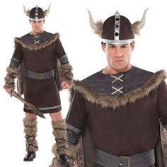 Carnival Adult Viking Fancy Dress Costume Medieval Saxon Halloween Warrior Men
