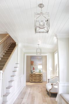 Interior Design Ideas: Coastal Florida Home Tongue and Groove ceiling paint color Benjamin Moore White Dove Semi-gloss with light White Oak hardwood floors classic timeless look Maple Hardwood Floors, White Wood Floors, Oak Flooring, Light Wood Flooring, Light Oak Floors, Grey Wood, Dark Wood, Painted Floors, Flooring Ideas