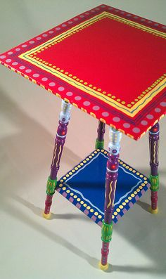 Handpainted furniture from Lisa Frick on Etsy - FAB inspiration.  I have two of these tables that I can re-do & this gives me some great ideas.