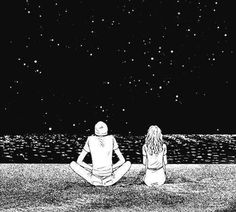 Because I can see them being adorbs doing stuff like stargazing. Background, Couple Drawings, Illustration, Drawings, Painting, Stargazing, Art, Pictures, Black And White