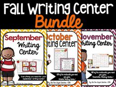 This bundle includes September, October and November Writing Centers for grades…