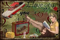 Imagen retro: I Love You   Pin Up