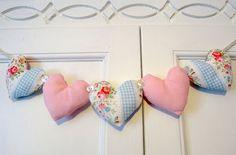 varal de corações - patchwork