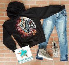b7edc638b537a2 Cowgirl Gypsy hoodie sweatshirt UNISEX Indian skull native pride headdress  XL