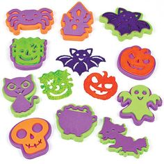 Halloween Stampers Create your own creepy Halloween pictures! Foam paint stampers in 10 assorted designs. Easy to hold, use with our ready mixed paints or paint pads. Halloween Arts And Crafts, Halloween Treats For Kids, Halloween Goodies, Creepy Halloween, Crafts For Kids, Foam Paint, Halloween Goodie Bags, Halloween Pictures