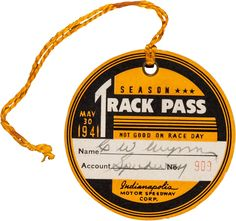 Offered here is a colorful original cardboard track pass from the 1941 Indy - Available at 2016 June 30 Auto Racing Sports. Vintage Packaging, Vintage Labels, Vintage Ephemera, Food Packaging, Typography Inspiration, Graphic Design Inspiration, Vintage Typography, Typography Design, Event Branding