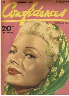 Rita Hayworth on the cover of Confidences magazine, 29 July, 1948, France.