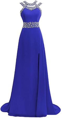 bfb9730acdfe7 Prom Dress Halter Evening Gowns Formal Long Slit Chiffon Bridesmaid Dresses  A line Open Back Royal Blue US4 at Amazon Women's Clothing store: