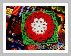 Tita Carré  Agulha e Tricot : Square Flor Pétala Coração em crochet
