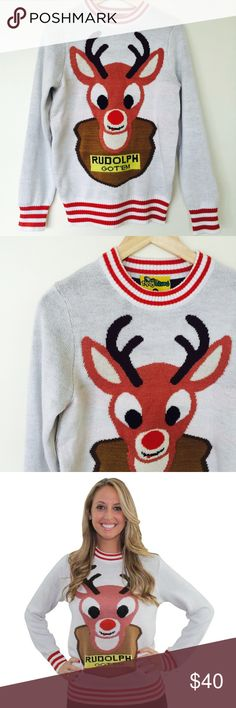Tipsy Elves Mounted Rudolph Sweater Looking for an ugly Christmas sweater? Well here it is.although it's more on the cuter side! Tipsy Elves, Ugly Christmas Sweater, Scoop Neck, Sweatshirts, Cute, Things To Sell, Fashion, Moda, Fashion Styles