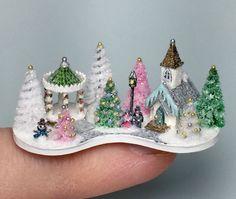 OOAK Miniature Dollhouse Christmas Putz Tiny Town Church Winter Wonderland Scene   eBay