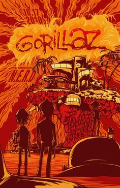 Gig Posters Gorillaz w/ N.- seriously one of the best shows I've ever seen.Gorillaz w/ N.- seriously one of the best shows I've ever seen. Kunst Poster, Poster S, Poster Prints, Gorillaz Band, Gorillaz Lyrics, Gorillaz Albums, Rock Vintage, Musik Illustration, Concert Posters