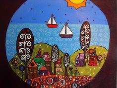Piluca Soriano. Montañas y casitas bañadas por el mar azul. http://pilarsoriano.wordpress.com/mi-galeria/mis-naifs/