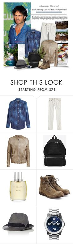 """Look Into My Eyes And You'd Be Hypnotized"" by thewondersoffashion ❤ liked on Polyvore featuring Dsquared2, Balmain, Giorgio Brato, Yves Saint Laurent, Burberry, Officine Creative, Barbisio, Nixon, men's fashion and menswear"