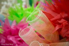 Fake coral with floral mesh. click for tutorial. How to Make a Stunning Coral Reef for you Under the Sea Party, Mermaid Party, or VBS. By Press Print Party #OceanCommotion #Underthesea #mermaid Decorations
